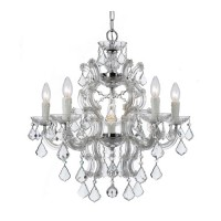 Crystorama 4335-CH-CL-MWP Maria Theresa 6 Light 23 inch Polished Chrome Chandelier Ceiling Light in Polished Chrome (CH), Clear Hand Cut