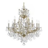 Crystorama 4412-GD-CL-SAQ Maria Theresa 13 Light 29 inch Gold Chandelier Ceiling Light in Swarovski Spectra (SAQ), Gold (GD)