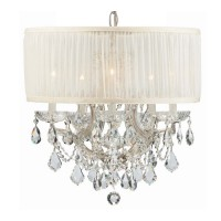 Crystorama 4415-CH-SAW-CLQ Brentwood 6 Light 20 inch Polished Chrome Mini Chandelier Ceiling Light