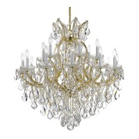 Crystorama 4418-GD-CL-S Maria Theresa 19 Light 35 inch Gold Chandelier Ceiling Light in Gold (GD), Clear Swarovski Strass