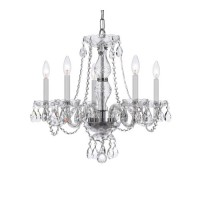 Crystorama 5085-CH-CL-S Traditional Crystal 5 Light 21 inch Polished Chrome Chandelier Ceiling Light in Polished Chrome (CH), Clear Swarovski Strass
