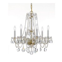 Crystorama 5086-PB-CL-MWP Traditional Crystal 6 Light 23 inch Polished Brass Chandelier Ceiling Light in Polished Brass (PB), Clear Hand Cut