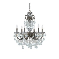 Crystorama 5196-EB-CL-SAQ Legacy 6 Light 23 inch English Bronze Chandelier Ceiling Light in Swarovski Spectra (SAQ)