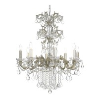 Crystorama 5288-OS-CL-SAQ Highland Park 8 Light 28 inch Olde Silver Chandelier Ceiling Light in Swarovski Spectra (SAQ)