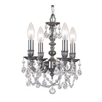 Crystorama 5504-PW-CL-MWP Gramercy 4 Light 11 inch Pewter Mini Chandelier Ceiling Light in Pewter (PW), Clear Hand Cut