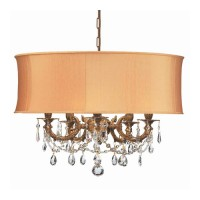Crystorama 5535-AG-SHG-CLS Gramercy 5 Light 20 inch Aged Brass Mini Chandelier Ceiling Light