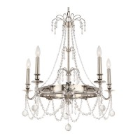 Crystorama 8606-PN-CL-MWP Harlow 5 Light 28 inch Polished Nickel Chandelier Ceiling Light