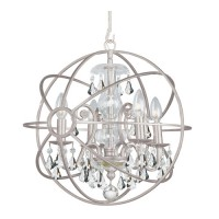Crystorama 9025-OS-CL-MWP Solaris 4 Light 17 inch Olde Silver Mini Chandelier Ceiling Light in Olde Silver (OS), Clear Hand Cut