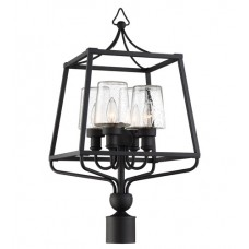 Crystorama SYL-2289-SD-BF Sylvan 4 Light 26 inch Black Forged Outdoor Lantern Post in Seeded