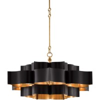 Currey & Company 9000-0429  Grand Lotus 6 Light 30 inch Satin Black and Contemporary Gold Leaf Chandelier Ceiling Light, Semi-Flush Convertible