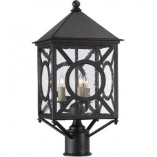 Currey & Company 9600-0001 Ripley 3 Light 21 inch Midnight Outdoor Post Light
