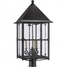 Currey & Company 9600-0004 Faracy 3 Light 30 inch Midnight Outdoor Post Light