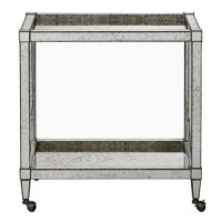 Currey & Company 3000-0009 Monarch Painted Silver Viejo / Light Antique Mirror Bar Cart