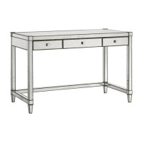 Currey & Company 3000-0050 Monarch 48 inch Painted Silver Viejo Desk