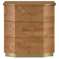 Currey & Company 3000-0067 Renee Natural Cork and Gold and Polished Brass Chest