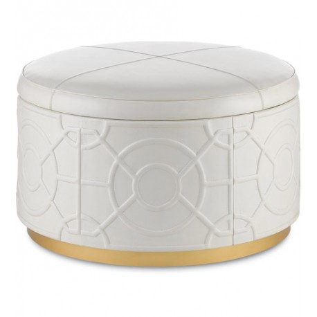 Currey & Company 3000-0084 Alisa 21 inch Marshmallow and Gold Ottoman