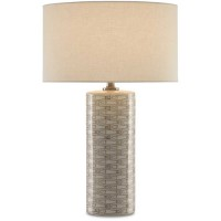 Currey & Company 6000-0283 Fisch 25 inch 150 watt Gray and White with Antique Nickel Table Lamp Portable Light