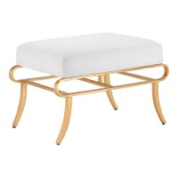 Currey & Company 7000-0111 Claude 18 inch Contemporary Gold Leaf Ottoman