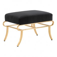 Currey & Company 7000-0112 Claude 18 inch Contemporary Gold Leaf Ottoman