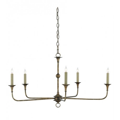 Currey & Company 9000-0143 Nottaway 5 Light 36 inch Pyrite Bronze Chandelier Ceiling Light, Small
