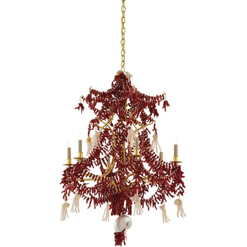 Currey And Company Coral Chandelier: Currey & Company 9000-0248 Chimera 6 Light 29 Inch Coral