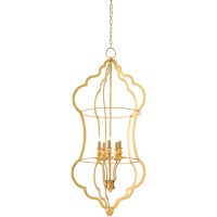 Currey & Company 9000-0267 Grace 5 Light 24 inch Contemporary Gold Leaf Chandelier Ceiling Light, Large