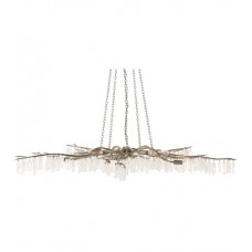 Currey & Company 9000-0368 Forest Light 10 Light 62 inch Textured Silver and Natural Chandelier Ceiling Light