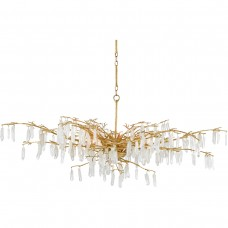 Currey & Company 9000-0438 Forest Dawn 8 Light 60 inch Washed Lucerne Gold/Natural Chandelier