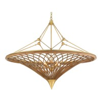 Currey & Company 9000-0560 Gaborone 4 Light 40 inch Natural/Contemporary Gold Leaf Chandelier Ceiling Light