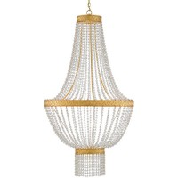 Currey & Company 9000-0564 Mirador 6 Light 30 inch Contemporary Gold Leaf Chandelier Ceiling Light