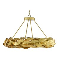Currey & Company 9000-0594 Apollo 20 Light 34 inch Contemporary Gold Leaf/Painted Gold Chandelier Ceiling Light, Small