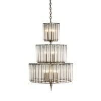 Currey & Company 9309 Bevilacqua 12 Light 27 inch Silver Leaf Chandelier Ceiling Light
