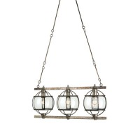 Currey & Company 9354 Broxton 3 Light 9 inch Dirty Silver Chandelier Ceiling Light