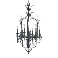 Currey & Company 9598 Corazon 6 Light 19 inch French Black Chandelier Ceiling Light