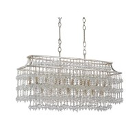 Currey & Company 9864 Rainhill 17 Light 13 inch Silver Granello and Mist Chandelier Ceiling Light