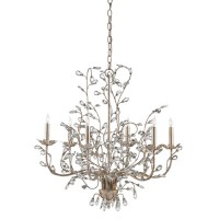 Currey & Company 9973 Crystal Bud 6 Light 28 inch Silver Granello Chandelier Ceiling Light
