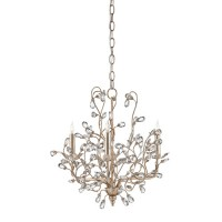 Currey & Company 9974 Crystal Bud 3 Light 18 inch Silver Granello Chandelier Ceiling Light