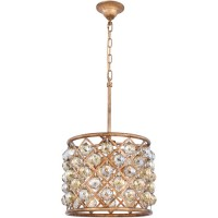 Elegant Lighting 1206D14GI/RC Madison 4 Light 14 inch Golden Iron Pendant Ceiling Light in Clear, Faceted Royal Cut, Urban Classic