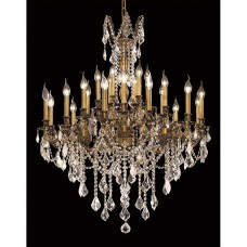 Elegant Lighting 9224D36FG/SS Rosalia 24 Light 36 inch French Gold Dining Chandelier Ceiling Light in Swarovski Strass