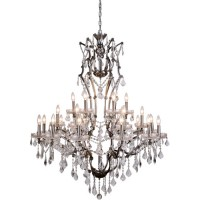 Elegant Lighting 1138G41RS/RC Elena 25 Light 41 inch Raw Steel Chandelier Ceiling Light in Clear, Urban Classic