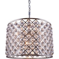 Elegant Lighting 1204D27PN/RC Madison 8 Light 28 inch Polished Nickel Pendant Ceiling Light in Clear, Smooth Royal Cut, Urban Classic
