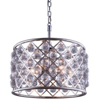 Elegant Lighting 1206D20PN/RC Madison 6 Light 20 inch Polished Nickel Pendant Ceiling Light in Clear, Faceted Royal Cut, Urban Classic