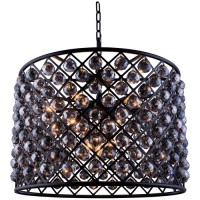 Elegant Lighting 1206D27MB-SS/RC Madison 8 Light 28 inch Matte Black Pendant Ceiling Light in Silver Shade, Faceted Royal Cut, Urban Classic