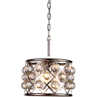 Elegant Lighting 1214D12PN/RC Madison 3 Light 12 inch Polished Nickel Pendant Ceiling Light in Clear, Faceted Royal Cut, Urban Classic