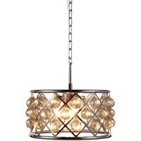 Elegant Lighting 1214D16PN-GT/RC Madison 4 Light 16 inch Polished Nickel Pendant Ceiling Light in Golden Teak, Faceted Royal Cut, Urban Classic