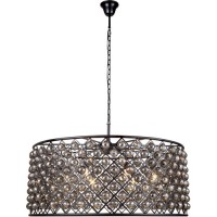 Elegant Lighting 1214G43MB-SS/RC Madison 10 Light 44 inch Matte Black Pendant Ceiling Light in Silver Shade, Faceted Royal Cut, Urban Classic
