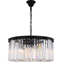Elegant Lighting 1238D31MB/RC Sydney 8 Light 32 inch Matte Black Chandelier Ceiling Light, Urban Classic