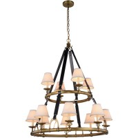 Elegant Lighting 1473G37BB Cascade 12 Light 37 inch Burnished Brass Pendant Ceiling Light, Urban Classic