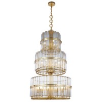 Elegant Lighting 1528G33AGL Piper 18 Light 32 inch Antique Gold Leaf Chandelier Ceiling Light, Urban Classic