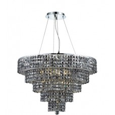 Elegant Lighting 2037D30C-SS/SS Maxime 17 Light 30 inch Chrome Dining Chandelier Ceiling Light in Silver Shade, Swarovski Strass